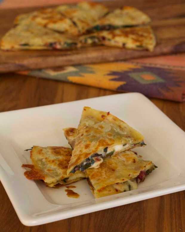 Pepper Jack and Chard Quesadillas