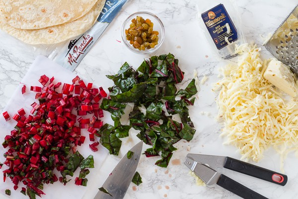 ingredients for Chard and Pepper Jack Quesadillas with Avocado Cream | Letty's KItchen