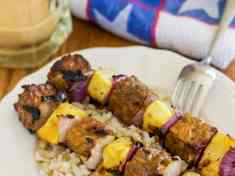 Vegan Tempeh and Pineapple Kebabs with Peanut Satay Sauce