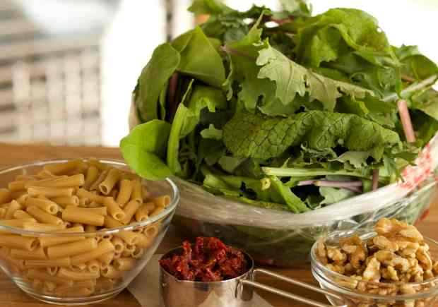 Penne Pasta with Mixed Greens