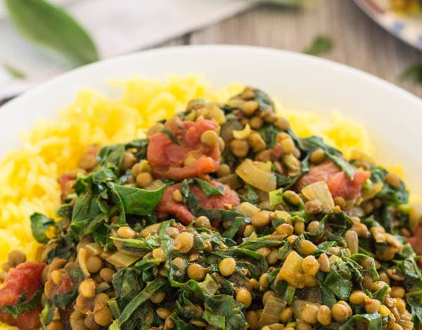 Lentil Spinach Keema and Saffron Rice