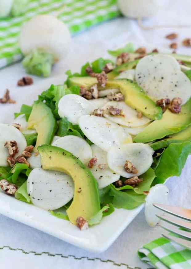Maple Pecan Vinaigrette Salad with Japanese Salad Turnips | Letty's Kitchen