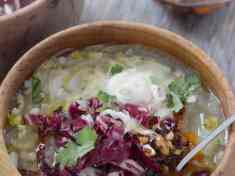 Chicory Soup with Barley and Lemon