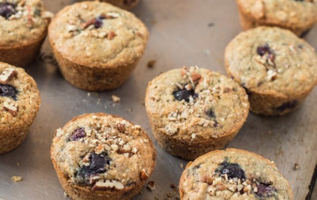 Blueberry Maple Hemp Muffins fresh from the oven