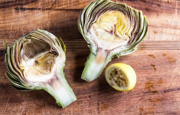 artichoke halves par cooked for Lemon Roasted Artichokes