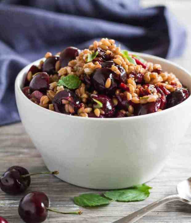 Cherry and Farro Salad with Pressure-Cooked Farro | Letty's Kitchen