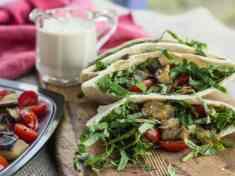 Roasted Eggplant and Tomato Pitas with Lemon Tahini Sauce | Letty's Kitchen