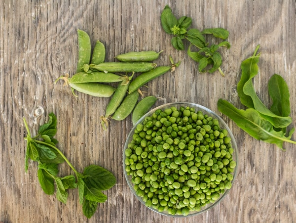 fresh peas and herbs for Easy Sweet Pea and Mint Soup | Letty's Kitchen