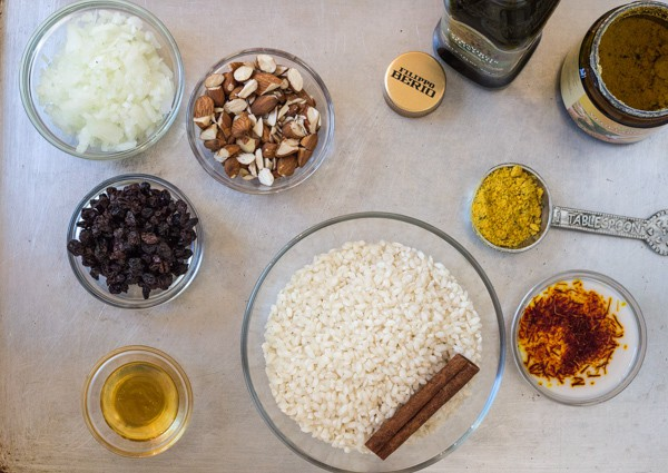 ingredients for Saffron Risotto with Almonds and Currants | Letty's Kitchen
