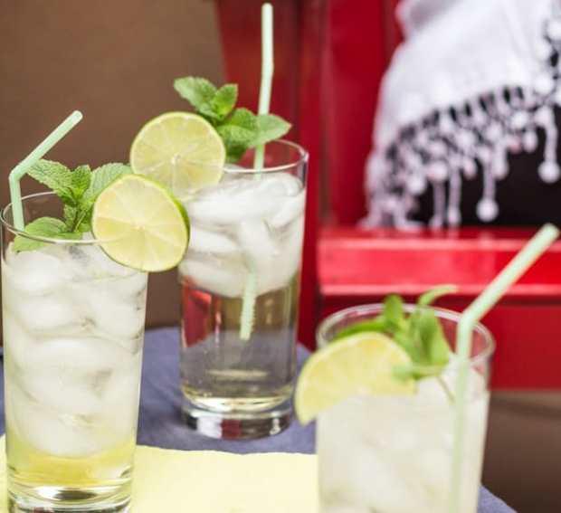 Prosecco and Elderflower Spritzer 3 glasses on the deck