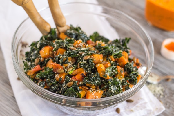 Kale and Kabocha Squash Salad with Roasted Red Pepper Vinaigrette | Letty's Kitchen