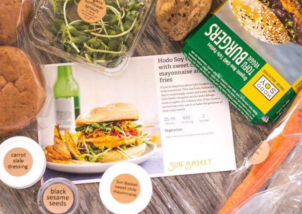 Veggie Burger fixings from Sun Basket organic meals