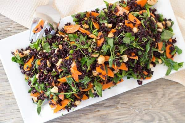 Black Rice and Pea Shoot Salad