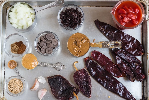 ingredients for Homemade Chile Chocolate Mole