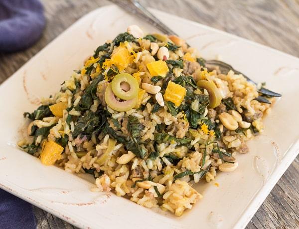 Brown Rice Mustard Green Pilaf