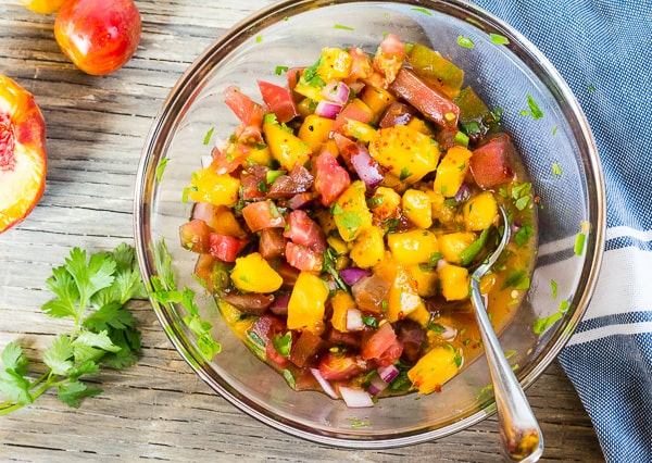Peach and Tomato Salsa for Peach and Tomato Salsa with Pan Seared Tofu
