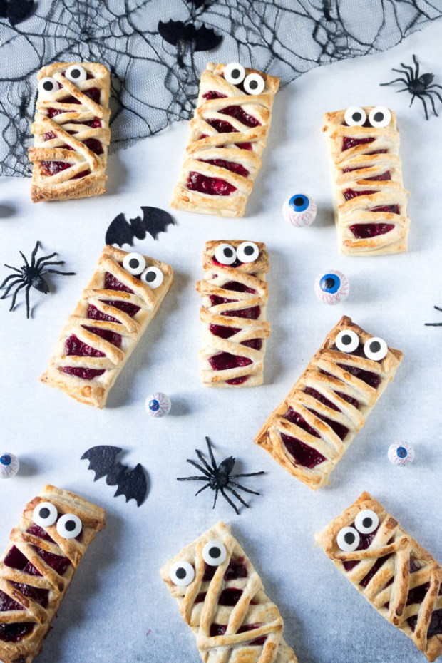 Raspberry Mummy Hand Pies for 16 Healthy Vegetarian Halloween Picks