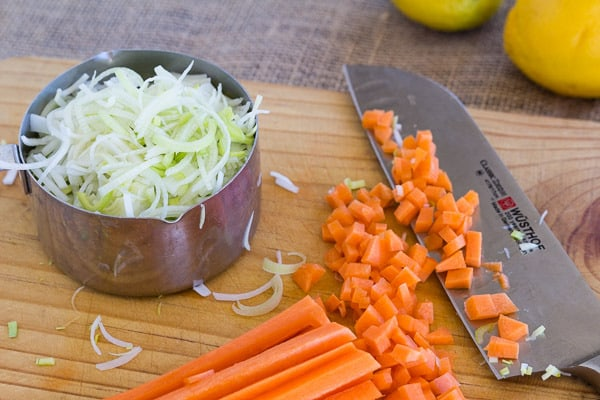 Leeks and Carrots for Vegetarian Greek Egg and Lemon Soup with Orzo