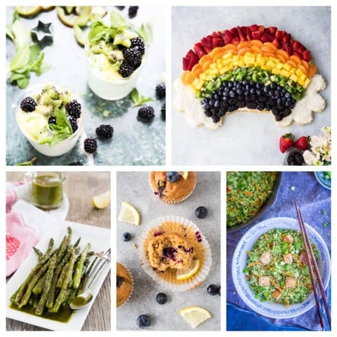 March Eat Season Collage for Roasted Asparagus with Cilantro Chimichurri Sauce