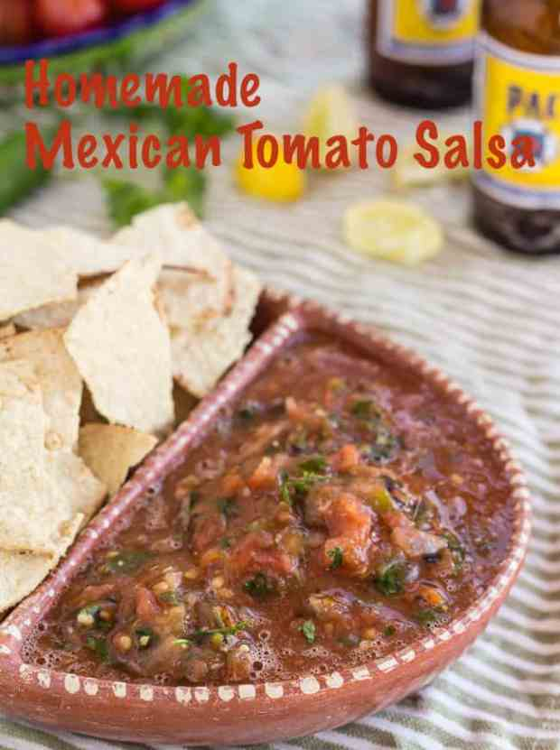 Easy 5-ingredient recipe for homemade Mexican tomato salsa. Made quickly in food processor. Vibrant with fresh serrano or jalapeño chiles, onion, garlic, cilantro, and canned tomatoes. Awesome for nachos, eggs, tacos, quesadillas, and more.  #redsalsa #homemade #Mexicansalsa #salsaroja #recipe