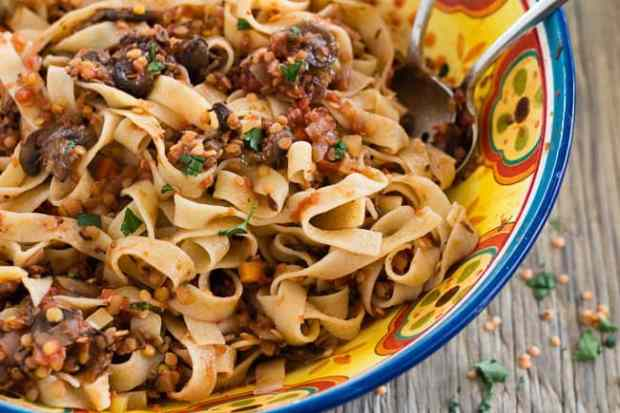 Spicy Red Lentil and Mushroom Pasta closeup serving bowl