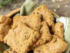 Oatmeal Rosemary Scones baked in basket | Letty's Kitchen