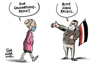Zur Grundrechtedemo? Bitte nach rechts. © Schwarwel www.schwarwel.de