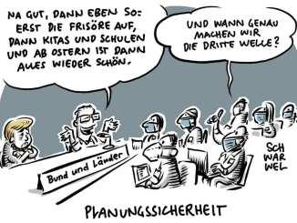Planungssicherheit © Schwarwel www.schwarwel-karikatur.com