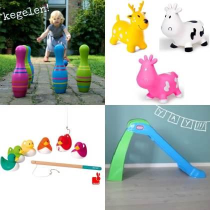 buitenspeelgoed cadeau voor peuter van 2 of 3 jaar: glijbaan, skippykoe, eendjes en kegelen