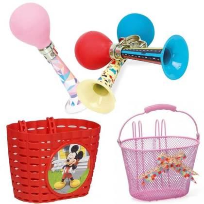 Cadeau voor kids: fietstoeter of fietsmand voor op je fiets of step, leuk voor schoolkinderen, peuters en kleuters