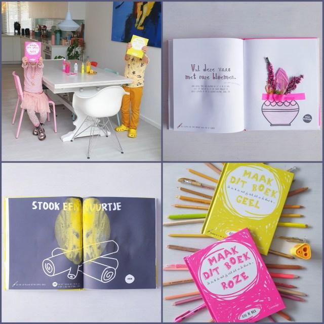 creatief kleurboek annex doeboek voor kinderen - Maak dit boek roze en Maak dit boek geel