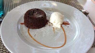 Mi-cuit chocolat noir, glace coco