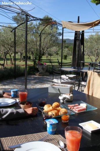 Petit-déjeuner en terrasse, moment suspendu au calme!