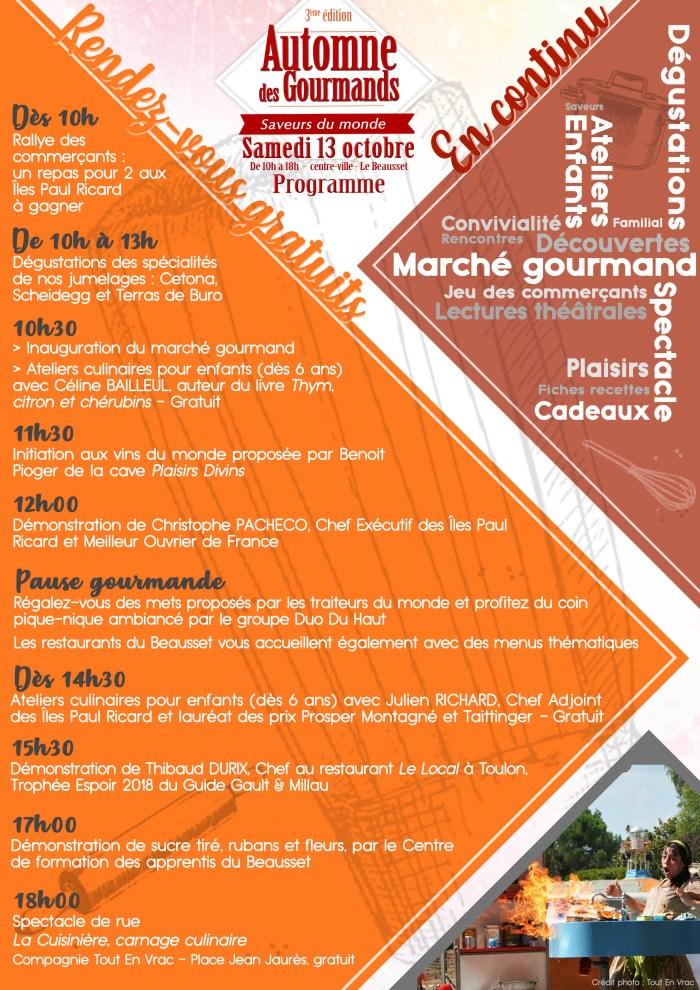 Automne des Gourmands programme 2018