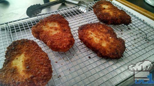 Fully cooked breaded pork chops waiting to be double cooked to make them extra crispy.