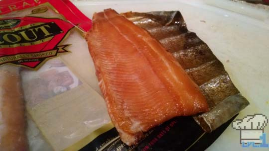 Remove the skin from the back of the smoked trout before adding to puree.