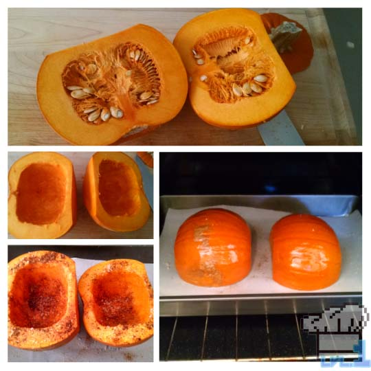 Pumpkins that have been halved, scooped out and placed face down on a parchment paper lined baking tray awaiting the oven.