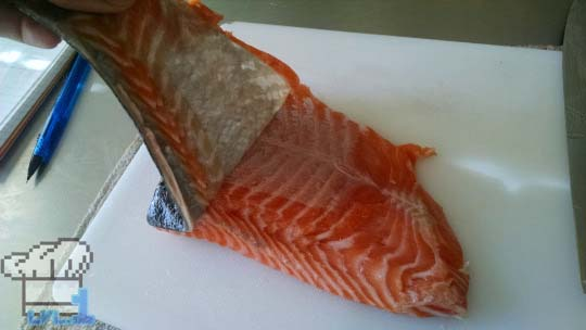 How to remove the skin off of a filet of salmon.