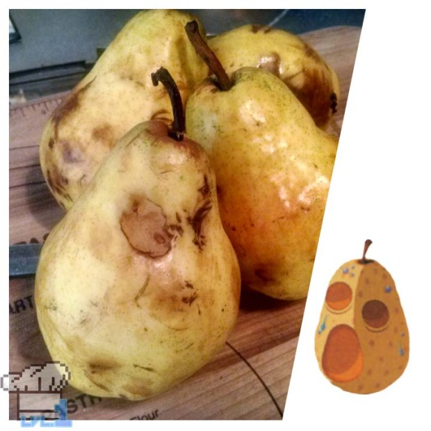 A side by side comparison of a ripe and bruised Bartlett Pear with a Hyoi Pear from the Legend of Zelda Wind Waker game series.