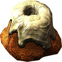 Pixel sprite of a sweetroll from the Elder Scrolls Skyrim game series.