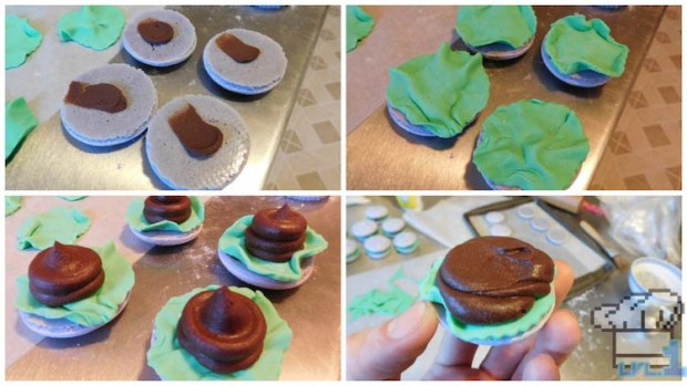 Glamburger assembly with the fondant lettuce leafs and chocolate ganache burger patties on the macaron buns.
