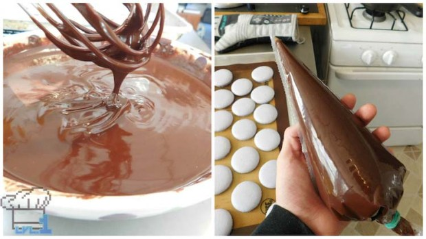 Chocolate ganache in pastry piping bag ready to pip onto Glamburger macaron buns.