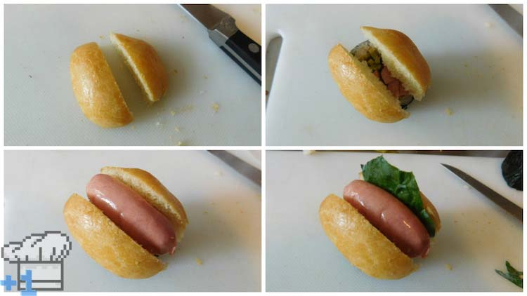 Hot dog bun assembly for the hot dog sushi rolls from the Earthbound and Mother 3 game series.