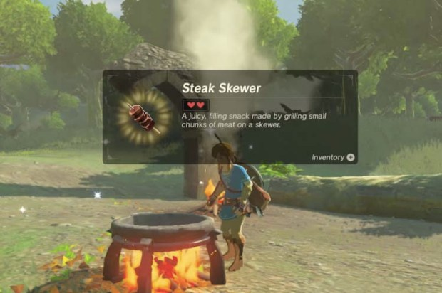 Screenshot of the Grilled Steak Skewer item from the Legend of Zelda Breath of the Wild game series.
