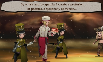 Screenshot of Angelo Panettone in battle with his strawberry frasier cake from the Bravely Second End Layer game series.