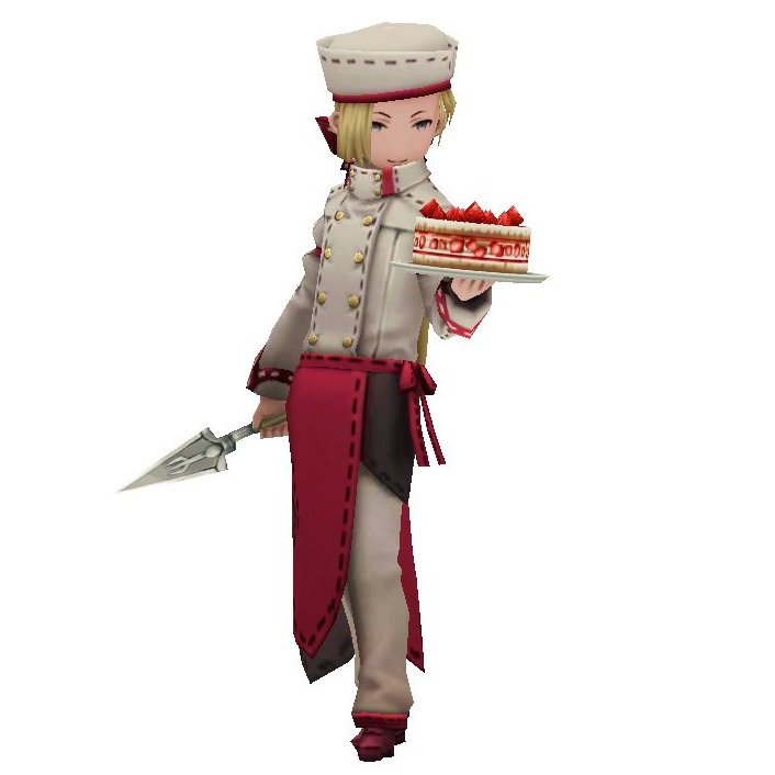 Screenshot of Angelo Panettone with his strawberry frasier battle cake, from the Bravely Second End Layer game series.