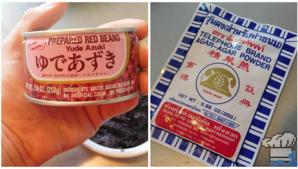 Canned red adzuki beans and a packet of agar agar thickening agent; ingredients for the Old Gateau recipe from the Pokemon game series.