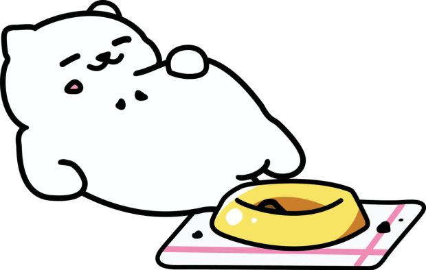 A pixel sprite image of Tubbs the chubby kitty from the Neko Atsume mobile game series, after a full meal.
