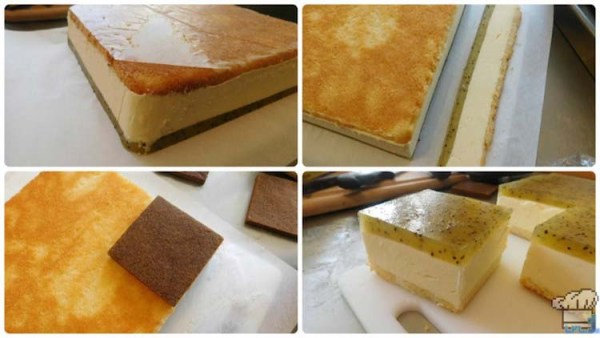 Slicing squares of the molded cake, bavarian cream and kiwi jelly for the cake passenger car.