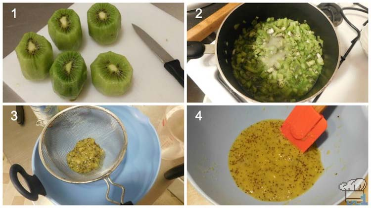 Slicing, cooking and straining the kiwi to create a kiwi jelly glaze for the top of the cake passenger car.